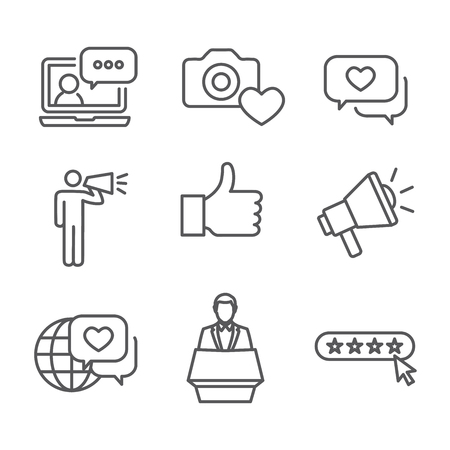 Set of Brand Ambassador Thin Line Outline Concept Icons.