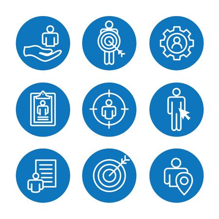 Set of target market icons in blue and round illustration. Illustration