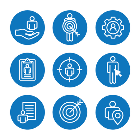 Set of target market icons in blue and round illustration. Stock Illustratie