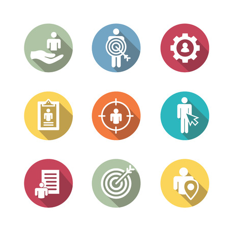 Set of target market icons in colorful round illustration.