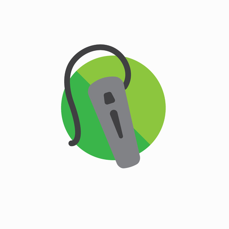 Hearing aid icon with wrap around ear wire and ear canal piece. Illustration