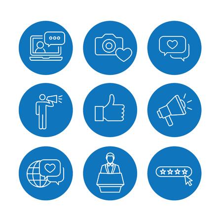 Brand Ambassador Thin Line Outline Icon Set w Megaphone, Influencer Marketing Person and Representative