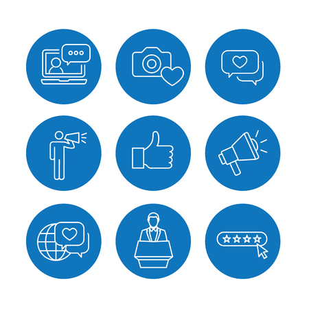 Brand Ambassador Thin Line Outline Icon Set w Megaphone, Influencer Marketing Person and Representative