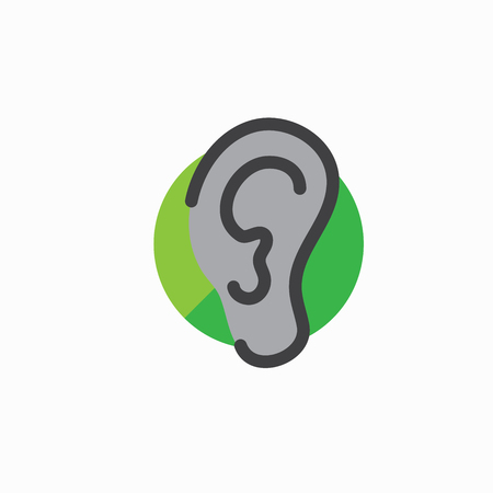 Ear and ear canal outline icon image - hearing or listening loss Stock Vector - 92096637