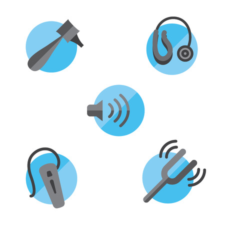 Hearing loss solid icon set with Otoscope, tuning fork  hearing aids
