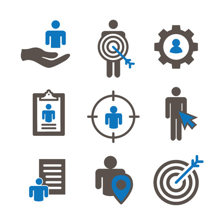 Target market icons of buyer image and person gear, arrow, nurturing leads Vector illustration.