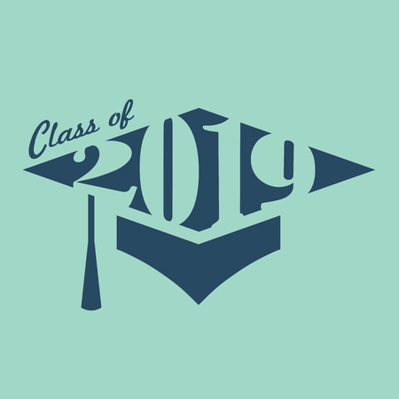 Class of 2019 Congratulations Grad Typography Vector illustration. Ilustracja