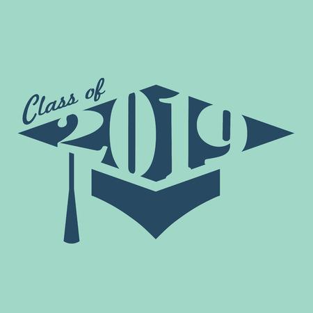 Class of 2019 Congratulations Grad Typography Vector illustration. Stock Illustratie