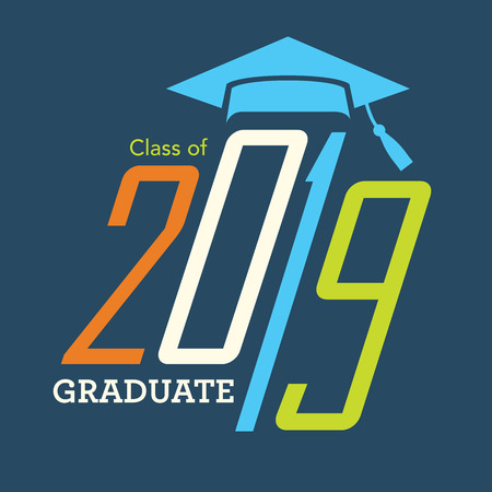 Class of 2019 Congratulations Grad Typography Vector illustration. Çizim