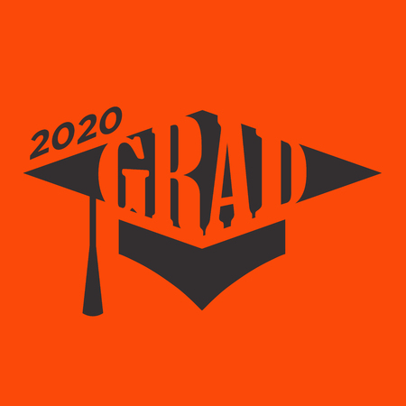 Class of 2020 Enhorabuena Graduate Typography with Cap and Tassle
