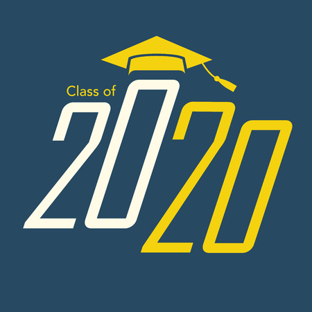 Class of 2020 congratulations graduate typography with cap and tassel. Vettoriali