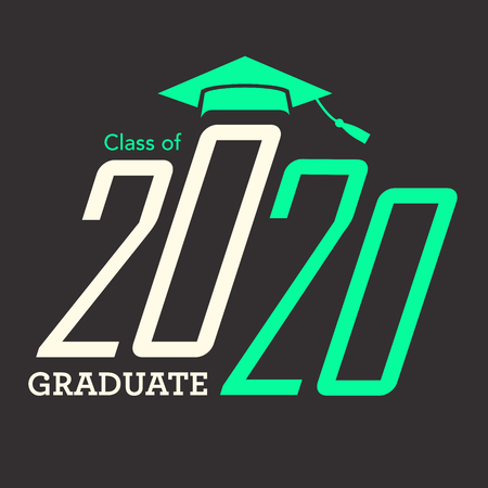 Class of 2020 congratulations graduate typography with cap and tassel. Illustration