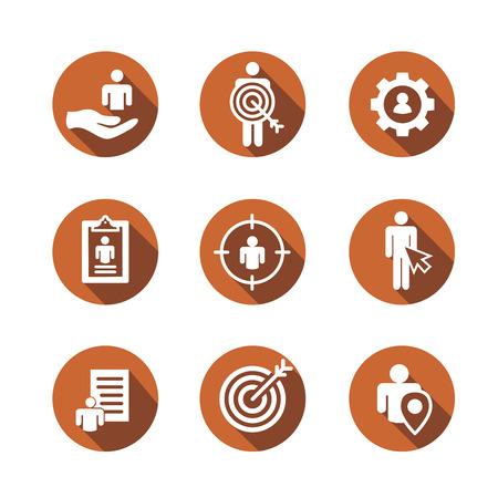 Set of target market buyer icons concept illustration.