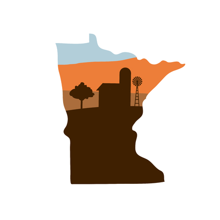 Minnesota state shape icon with sunset colors and barn illustration.
