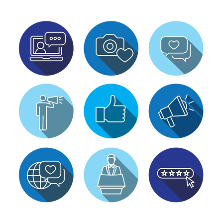브랜드 대사 확성기, Influencer 마케팅 담당자와 대표자를 사용 하여 설정하는 얇은 라인 개요 아이콘. 일러스트