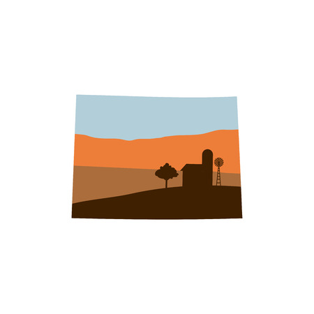 Colorado State Shape at Sunset with Windmill, Barn, and a Tree. 向量圖像