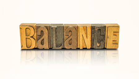 Balance Word Block Letters on  Isolated White Background