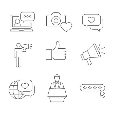 브랜드 대사 씬 라인 개요 아이콘 세트, 확성기 마케팅 담당자 및 대표