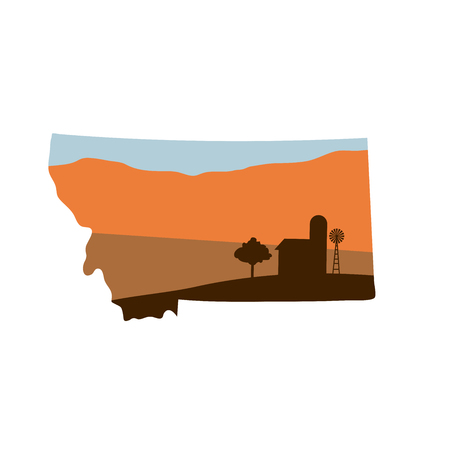 Montana State Shape w Farm at Sunset with Windmill, Barn, and a Tree