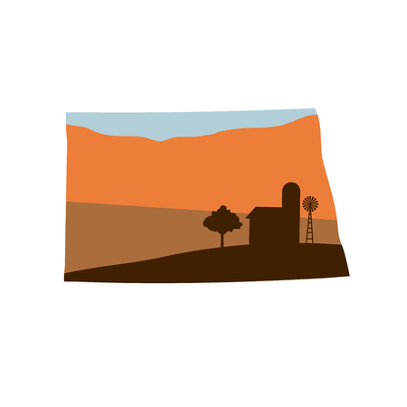 North Dakota State Shape w Farm at Sunset with Windmill, Barn, and a Tree