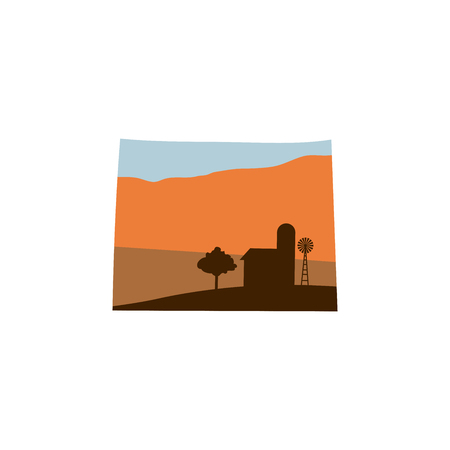 Wyoming State Shape w Farm at Sunset with Windmill, Barn, and a Tree