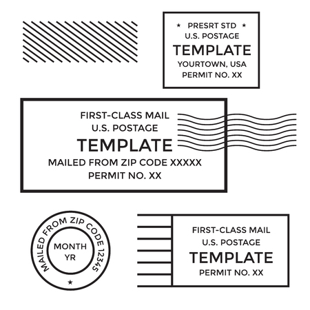 Postal cancellation First Class mail w Postage Paid mark Illustration