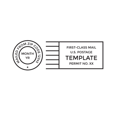 Postal cancellation First Class mail w Postage Paid mark Vettoriali