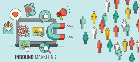 Inbound Header w Magnet Attracting new Leads and Generating Income with Inbound Marketing Illustration