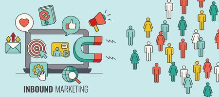 Inkomende koptekst met magneet Nieuwe leads aantrekken en inkomsten genereren met inkomende marketing Stockfoto - 94226351
