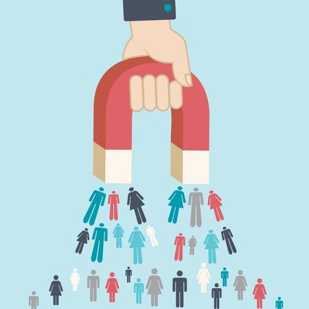 Magnes przyciągający ludzi do pozyskiwania potencjalnych klientów, symbol marketingu cyfrowego