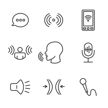 Voice recording and voiceover icon set with microphone, voice scan recognition software. 矢量图像