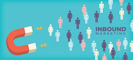 Magnet pulling people for inbound lead generation -a digital marketing symbol Vectores