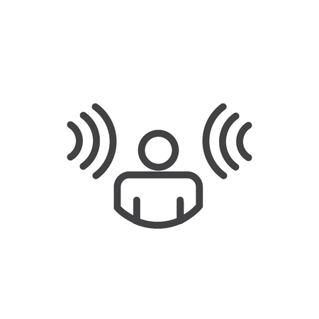 Person hearing soundwaves coming in from both sides that are a voice recognition icon Иллюстрация