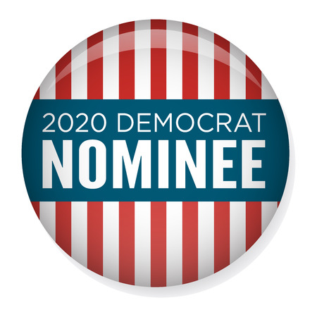 2020 Campaign Election Pin Button or Badge with Patriotic Stars and Stripes Theme