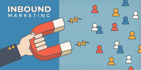 Magnet pulling people for inbound lead generation -a digital marketing symbol Illusztráció
