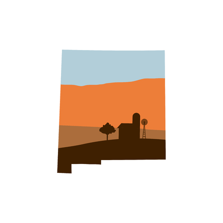 New Mexico State Shape with Farm at Sunset with Windmill, Barn, and a Tree Illustration
