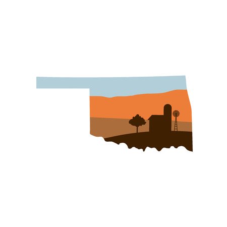 Oklahoma State Shape with Farm at Sunset with Windmill, Barn, and a Tree
