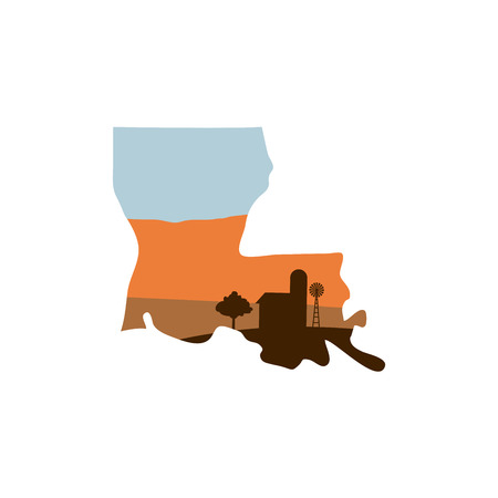 Louisiana State Shape with Farm at Sunset with Windmill, Barn, and a Tree Illustration
