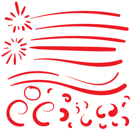 Hand Drawn Red squiggle swoosh text font tail for baseball t-shirt design with calligraphy swirl Illustration