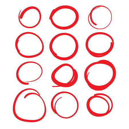 Red Circle Grading Marks with Swoosh Feel - Marking up  the Papers Иллюстрация