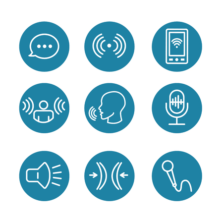 Voice Recording and Voiceover Icon Set with Microphone, Voice Scan Recognition Software