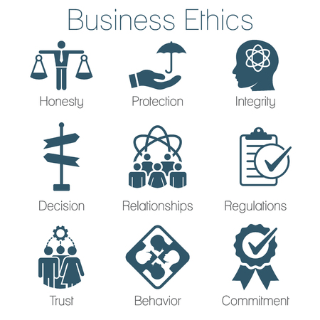 Business Ethics Solid Icon Set with Honesty, Integrity, Commitment, & Decision