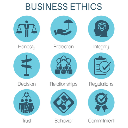 Business Ethics Solid Icon Set with Honesty, Integrity, Commitment, & Decision Stok Fotoğraf - 96960745