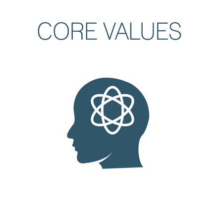 Core Values Solid Icon w person and collaborating  thinking ideas