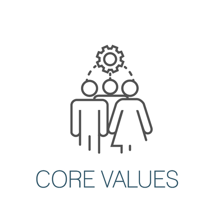 Core Values Outline Icon w person & collaborating  thinking ideas Illustration