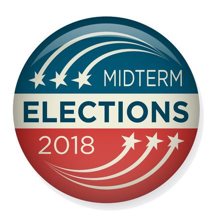 Retro Midterm verkiezingen Stem & verkiezingspen Knop / badge Vector Illustratie