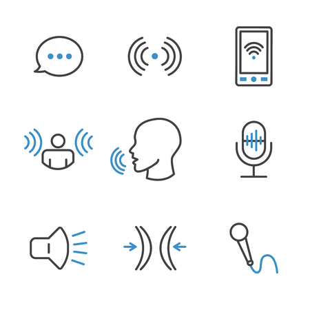 Voice Recording and Voiceover Icon Set w Microphone, Voice Scan Recognition Software