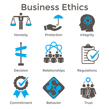Solidny zestaw ikon etyki biznesowej z uczciwością, uczciwością, zaangażowaniem,