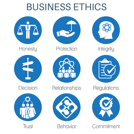 Business Ethics Solid Icon Set with Honesty, Integrity, Commitment, & Decision Archivio Fotografico - 97387264