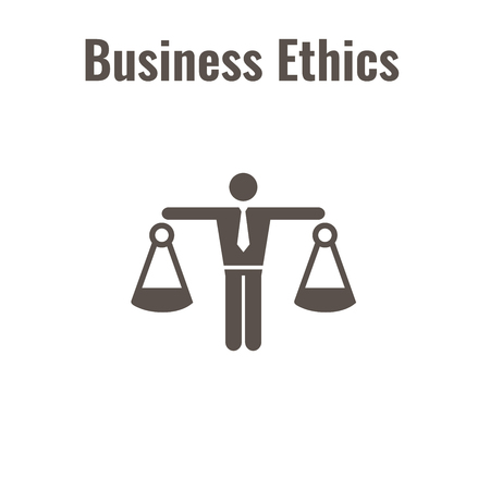 Business Ethics Solid Icon with Man